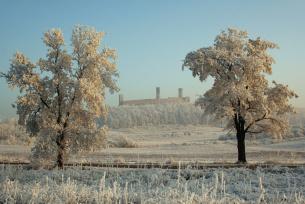 Zimowa panorama na zamek